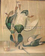 Antique Repro Photo Print Trio Mallard Teal Dove Dead Hanging Game