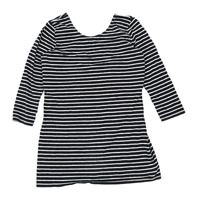 George Womens Size 12 Striped Cotton Blend Grey Top (Regular)