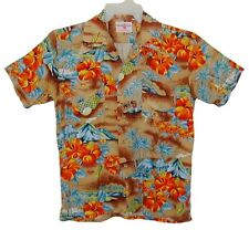 Sz M Vin 70s HAWAIIAN HOLIDAY Aloha Shirt 2 FRONT POCKETS Rayon Tropical Floral