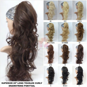 Superior Quality Thick Long Tousled Curly Drawstring Ponytail (C3)