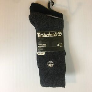 Timberland Wool Blend Cushioned Boot Socks Men One Size 2 Pair Gray Black