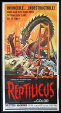 REPTILICUS A.I.P. GIANT REPTILE MONSTER SCI-FI REYNOLD BROWN ART 1962 3-SHEET
