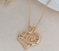 """Mothers Day Gift 18k Gold Heart Pendant & 18"""" Elegant Link Chain Necklace + D536"""