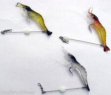 3 Colors Silicone soft Shrimp Fishing glow n dark hook/bead Prawn Saltwater Lure