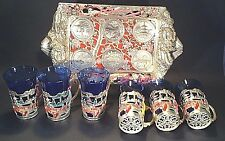 Bar Ware Set - 6 Blue Glasses - Metal Tray With Japan Map And Landmarks