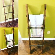 Rustic Industrial Pipe and Wood Blanket Ladder - Wood Quilt Ladder - Wall Ladder