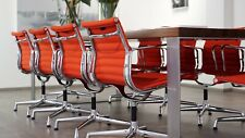 8x orig. VITRA Charles Eames Alu Chair EA 108 - Hopsak poppy red & Glanzchrom