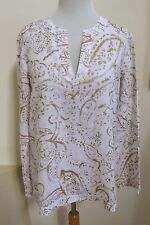 Lauren Ralph Lauren Linen Tunic Top PM Petite Medium M White Gold Long Sleeve