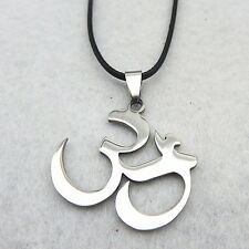 Silver Stainless Steel Buddha Yoga Mantra Meditation Om Pendant Necklace Chain
