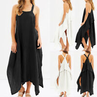 Women Plus Size Strap Flare Swing Long Maxi Sundress Party Club Beach Cami Dress