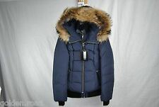 MACKAGE ROMANE DOWN COAT WOMENS BOMBER F5 INK XS XSMALL FUR HOOD NEW AUTHENTIC