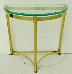 Antique/Vtg LaBarge Italy Brass Half Moon Beveled Glass Demilune Console Table