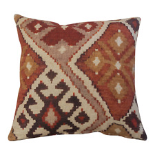 "100% Linen Printed Kilim Ikat Cushion. Double Sided. 17x17"". Terracotta Orange."
