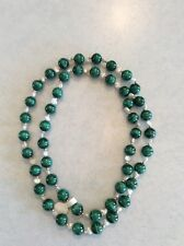 JADE TYPE WITH PEARL NECKLACE ROUND STONE BEADS 14.5'' LONG VALENTINE LIGHT DARK