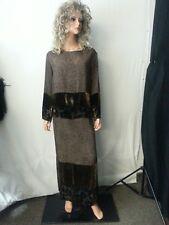 Citron Santa Manica 2 Piece Suit Long Skirt Top Brown Floral Velour Silk USA--S