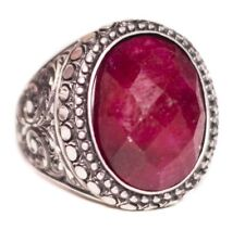Sterling silver 925  Men ring, Ruby natural  stone, Steel pen craft