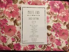❤️Miles End Queen Sheet Set Pink Summer Floral Blooms Print On White NIP