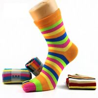 5 Pairs Women Cotton Toe Socks Striped Rainbow Patchwork Girls Five Finger Socks