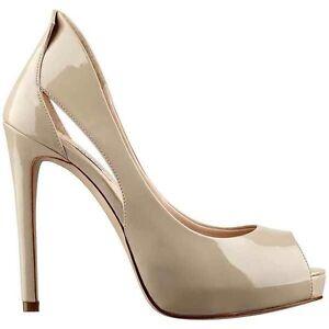 GUESS Harrah Zapatos de Plataforma en Ligero Cuero Natural Talla 10