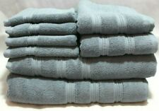 Dkny Eight Piece Solid Medium Blue Bathroom Towel Set 100% Cotton New