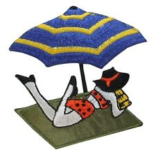 ID 1781 Beach Scene Umbrella Lady Sunbathing Embroidered Iron On Applique Patch