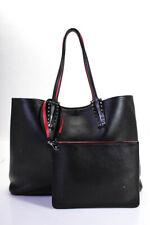 Christian Louboutin Black Leather Studded Detail Cabata Large Tote Bag