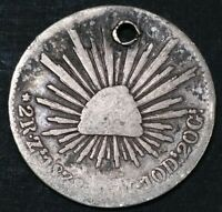 Mexico 1838 Mo OM 2 Real Republic Pre Civil War United States Silver Holed Coin