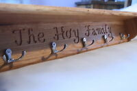 Personalised! Hand made solid oak coat rack with shelf, Choice of hooks
