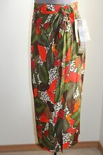 Chaus Wrap Skirt 10 Multi-Color Jungle Print Side Tie Olive NEW FREE SHIP