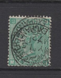 """GB QV 1s. Green SG117 Plate 5 """"MJ"""" Used 1871 Stamp 1/-  Manchester Exchange"""