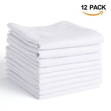 Men's Handkerchief High Quality Classic 100% Cotton Soft Absorbent White 12 Pack