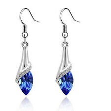 18K White Gold Plated Oval Crystal Sapphire Drop Dangle Earrings Fashion Jewelry