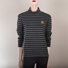 RALPH LAUREN Damen Rollkragen Shirt M 38 Grau Schwarz Gestreift Sweatshirt Top