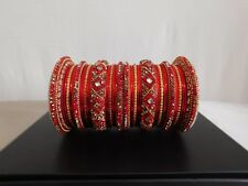 Designer Bollywood Metal Bangles - Red, Size 2.8. New. Free Shipping.
