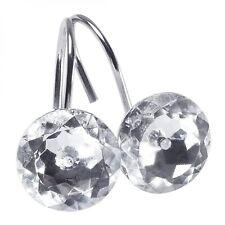 Round Diamond Crystal Shower Curtain Hooks Decorative Acrylic Rings Set of 12