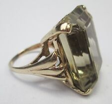 Huge Chunky 9ct Gold Rectangle Cut Citrine 40 Carats Dress Cocktail Ring Size O