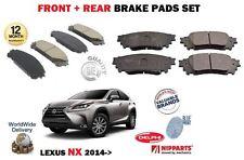 FOR LEXUS NX 200T 2.0 300H 2.5 HYBRID 2014->NEW FRONT + REAR BRAKE DISC PADS SET