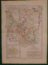 1788 DATED RIGOBERT BONNE MAP ~ LOWER RHINE ERFURT WESTPHALIE HAND COLOURED
