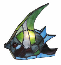 STUNNING High Quality Unique Stained Glass Fish Tiffany Table Desk Lamp Light