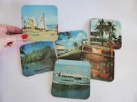 Set of Six Vintage Darwin Cork Coasters, Retro Australian Souvenir, 1970s