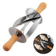 Wooden Dough Croissant Rolling Pin Roller Cutter Slicer Baking Bread DIY Tool