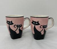 Retro Atomic Black Cat Porcelain Coffee Cup Mug Pink & Black Shabby Chic (2)