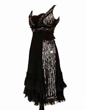 PRADA - Black Sleeveless Silk Chiffon Art Deco Sequin Panel Cocktail Dress 4 38