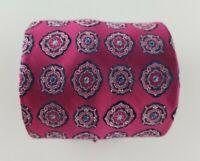 Paul Fredrick Mens Tie Purple Blue Geometric Silk Neck Tie  W3.5'' L58''