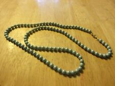 """Little Bead Necklace Marked with a Flower Vintage Jewelry 30"""" L Light Blue Heavy"""