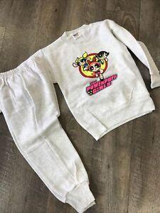 Vintage 90s Powerpuff Girls Shirt Soft Kids Sweat Suit Top & Bottom VTg TV Show