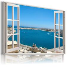 GREECE SEA BEACH 3D Window View Canvas Wall Art Picture Large SIZES W5 MATAGA