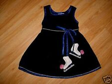 GIRLS ICE SKATING SKATE BLUE VELVET DRESS-3 3T