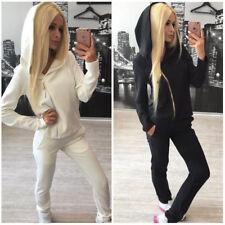 Casual Womens' Sportwear Tracksuit 2PCs Zipper Hoodie Sweatshirt Pants Suit Set