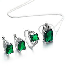 Lady Upscale Emerald 925 Silver Jerelry Set Necklace Pendant Rings Earrings Gift